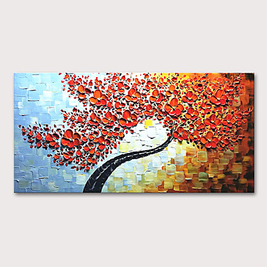 cheap Oversized Painting-Oil Painting Hand Painted - Floral / Botanical Abstract Landscape Modern Stretched Canvas
