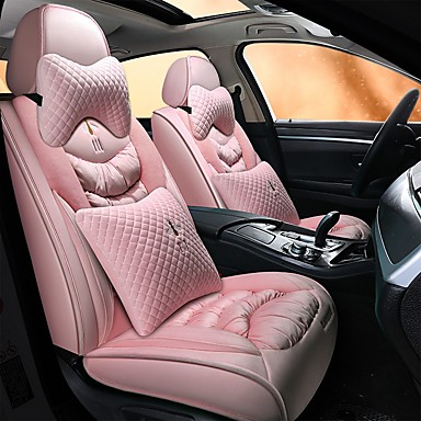 levne Doplňky do interiéru-plyšový polštář auta zimní plyšový polštář teplý potah sedačky kreslený potah sedadel kompatibilní s airbagy 5 potahů sedadel se 2 opěrkami hlavy a 2 bederními opěrkami