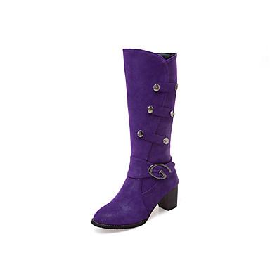 voordelige Dameslaarzen-Dames Laarzen Blokhak Ronde Teen Siernagel PU Kuitlaarzen Informeel / Zoet Winter Zwart / Paars / Beige
