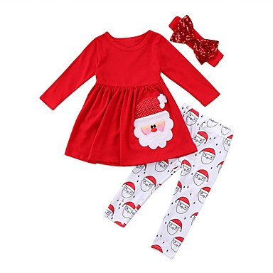 cheap Top Sellers-Kids Girls' Active Festival Print Christmas Long Sleeve Cotton Clothing Set Red