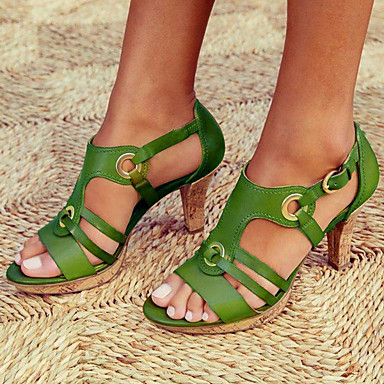 cheap Women's Sandals-Women's Sandals Heel Sandals Summer Cuban Heel Round Toe Vintage British Boho Daily Buckle Solid Colored PU Black / Red / Green