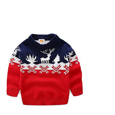 preiswerte Pullover & Strickjacken für Jungen-Kinder Jungen Grundlegend Druck Weihnachten Langarm Pullover & Cardigan Gelb