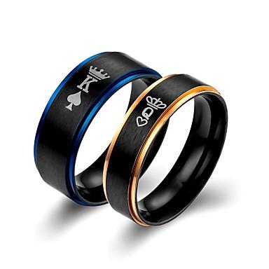 billige Motering-Par Band Ring 2pcs Blå Titan Statement Klassisk Europeisk Bryllup Engasjement Smykker Bokstaver
