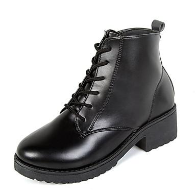 levne Dámská obuv-Dámské Boty Kačenka Oblá špička PU Zima Černá