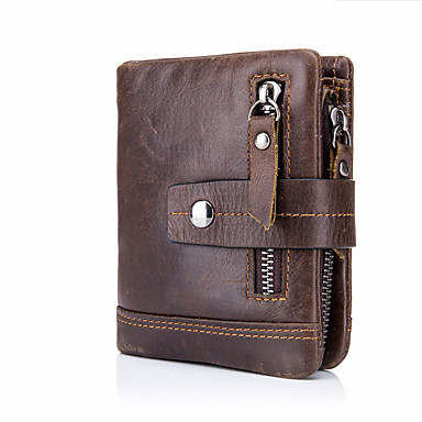 cheap New Arrivals Discount-Men's Zipper Cowhide Wallet Solid Color Black / Brown / Coffee