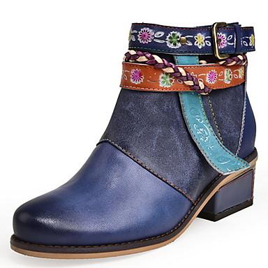 levne Dámská obuv-Dámské Boty Tiskněte boty Nízký podpatek Oblá špička Kůže Kotníčkové Podzim zima Námořnická modř