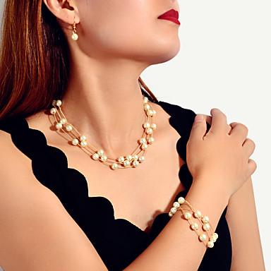levne Dámské šperky-Dámské Náhrdelník Náušnice Náramek Klasika Radost Představ si Šťastný Moderní korejština Sladký Elegantní francouzština Zlatá perla Náušnice Šperky Zlatá Pro Svatební Zásnuby Dar Denní Festival 3