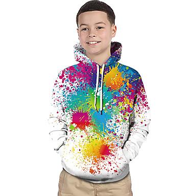 povoljno Odjeća za dječake-Djeca Dijete koje je tek prohodalo Dječaci Aktivan Osnovni Magične kocke Geometrijski oblici Print Duga Print Dugih rukava Trenirka s kapuljačom Duga