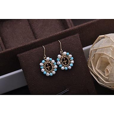 levne Dámské šperky-Dámské Bílá Sladkovodní perla Visací náušnice Boncuklar Haç Módní Náušnice Šperky Bílá Pro Dovolená 1 Pair