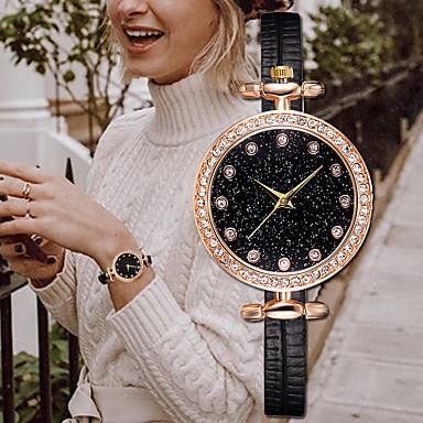 お買い得  レディース腕時計-女性用 クォーツ ファッション エレガント ブラック 白 ブルー PUレザー クォーツ ブラック コーヒー ホワイト カジュアルウォッチ 1枚 ハンズ 1年間 電池寿命 / ステンレス