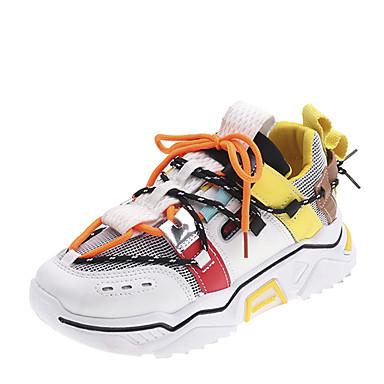 preiswerte Schuhe und Taschen-Damen Sportschuhe Flacher Absatz Runde Zehe Spitze Gitter Freizeit Walking Herbst Winter Weiß / Grau