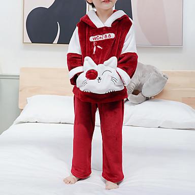 preiswerte Unterwäsche & Socken für Jungen Babys-2pcs Baby Jungen Katze Patchwork Tiermuster / Patchwork / Grundlegend Schlafanzüge Wein