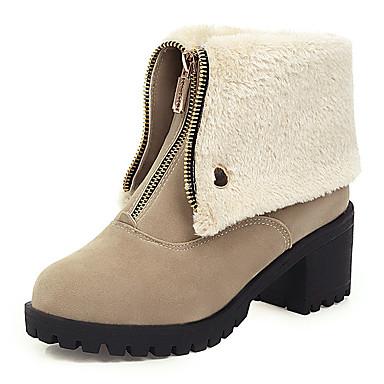 voordelige Dameslaarzen-Dames Laarzen Blokhak Ronde Teen Synthetisch Kuitlaarzen Informeel / minimalisme Winter Zwart / Amandel / Leger Groen