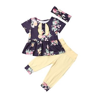 povoljno Odjeća za bebe-Dijete Djevojčice Boho Cvjetni print Kratkih rukava Duga Komplet odjeće purpurna boja