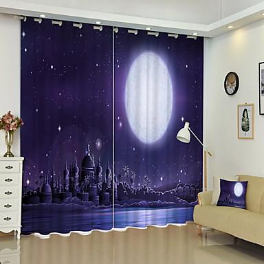 erdei digitális nyomtatás a hold alatt éjjel 3d függöny árnyékoló párna nagy pontosságú fekete selyem anyagból kiváló minőségű függöny