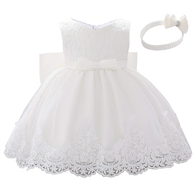 cheap Baby & Kids-Baby Girls' Active Color Block Bow / Layered / Pleated Sleeveless Knee-length Dress White