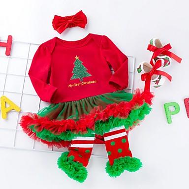 povoljno Odjeća za bebe-Dijete Djevojčice Aktivan Print / Božić Dugih rukava Haljina Obala / Dijete koje je tek prohodalo