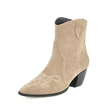ieftine Ghete de Damă-Pentru femei Cizme Cowboy / Western Boots Toc Îndesat Vârf pătrat Piele de Căprioară Cizme Medii Vintage Toamna iarna Negru / Maro / Bej / Party & Seară