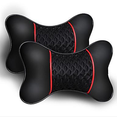 voordelige Auto-interieur accessoires-2 stks pu lederen gebreide auto hoofdsteun kussen neksteun kussen stoel accessoires