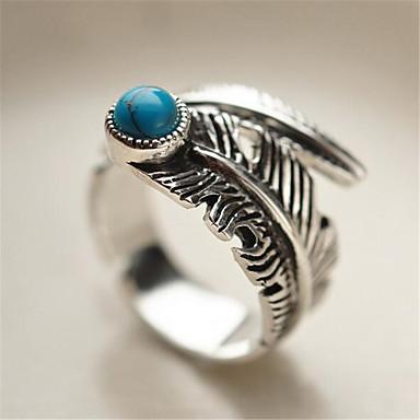 levne Pánské šperky-Pánské Otevřete kruh Nastavitelný kroužek 1ks Stříbrná Měď Postříbřené Geometric Shape Vintage Módní Denní Street Šperky Klasika Drahocenný Peří Cool