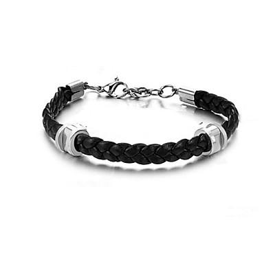 voordelige Herensieraden-Heren Lederen armbanden meetkundig Patroon Modieus Titanium Staal Armband sieraden Zilver Voor Dagelijks Festival