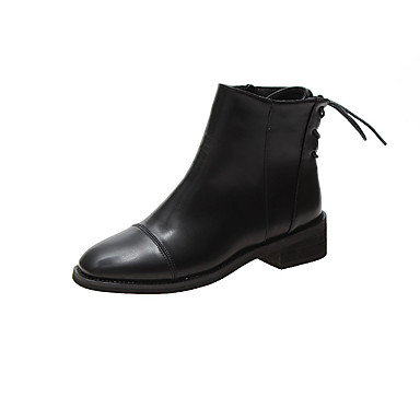 voordelige Dameslaarzen-Dames Laarzen Blok hiel Ronde Teen PU Herfst Zwart / Beige