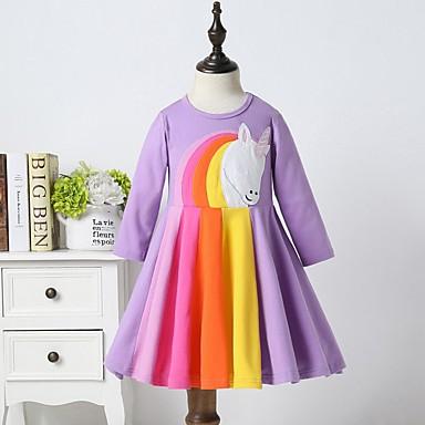 preiswerte Mode für Mädchen-Kinder Mädchen nette Art Tier Asymmetrisch Kleid Purpur