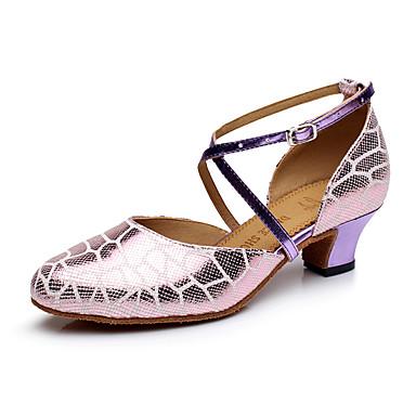 preiswerte Tanzschuhe-Damen Tanzschuhe Leder Schuhe für modern Dance Absätze Kubanischer Absatz Maßfertigung Purpur / Leistung / Praxis