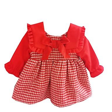 povoljno Odjeća za bebe-Dijete Djevojčice Aktivan Print Dugih rukava Haljina Red