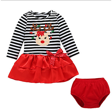 povoljno Odjeća za bebe-Dijete Djevojčice Osnovni Prugasti uzorak / Božić Dugih rukava Regularna Komplet odjeće Red / Dijete koje je tek prohodalo