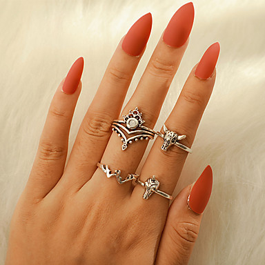 billige Motering-Dame Ring Ring Set 4stk Sølv Legering Annerledes Vintage trendy Etnisk Daglig Gate Smykker Vintage Stil Hestehode Krone