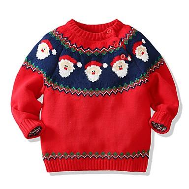 povoljno Odjeća za dječake-Djeca Dječaci Osnovni Geometrijski oblici Božić Dugih rukava Džemper i kardigan Red