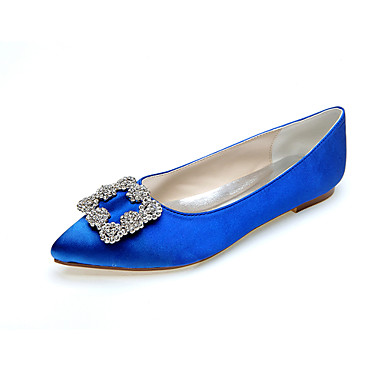 cheap Wedding Shoes-Women's Wedding Shoes Glitter Crystal Sequined Jeweled Flat Heel Pointed Toe Rhinestone Satin Minimalism Fall / Spring & Summer Purple / Red / Dark Purple / Party & Evening