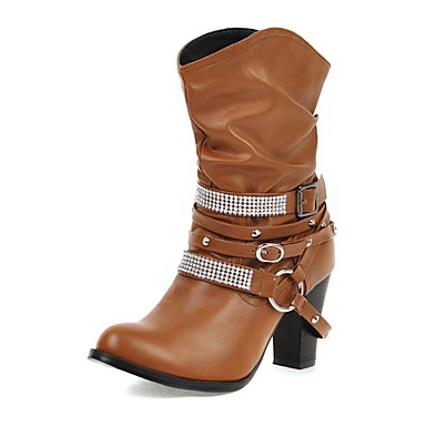 voordelige Dameslaarzen-Dames Laarzen Blokhak Ronde Teen Strass PU Kuitlaarzen Informeel Winter Zwart / Bruin / Beige