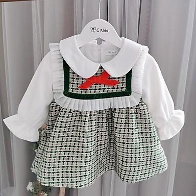 povoljno Odjeća za bebe-Dijete Djevojčice Aktivan Print Dugih rukava Haljina Djetelina