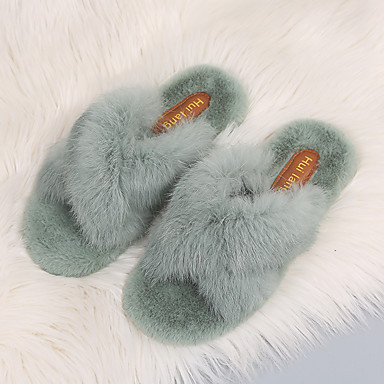 cheap Women's Slippers & Flip-Flops-Women's Slippers & Flip-Flops Comfort Shoes Fuzzy Slippers Spring / Summer / Fall Flat Heel Open Toe Casual Sweet Daily Pom-pom Solid Colored Fur Walking Shoes Black / Khaki / Green