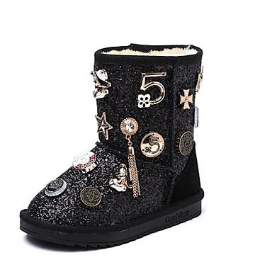 preiswerte Schuhe für Kinder-Mädchen Schneestiefel Wildleder Stiefel Kleine Kinder (4-7 Jahre) Schwarz / Silber Winter / Mittelhohe Stiefel