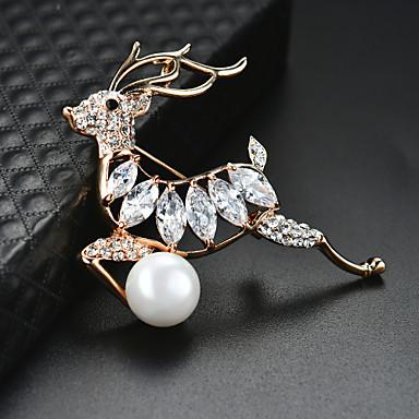 levne Dámské šperky-Dámské Brože 3D Jelen Vánoční stromek Módní Napodobenina perel Pozlacené Brož Šperky Zlatá Pro Vánoce Párty Festival
