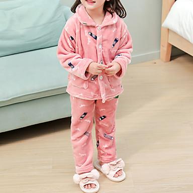 preiswerte Unterwäsche & Socken für Jungen Babys-2pcs Baby Jungen Druck Schnalle / Print / Grundlegend Schlafanzüge Rosa