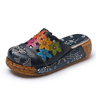 levne Dámské žabky a pantofle-Dámské Pantofle a Žabky Rovná podrážka Oblá špička Kůže Podzim zima Námořnická modř