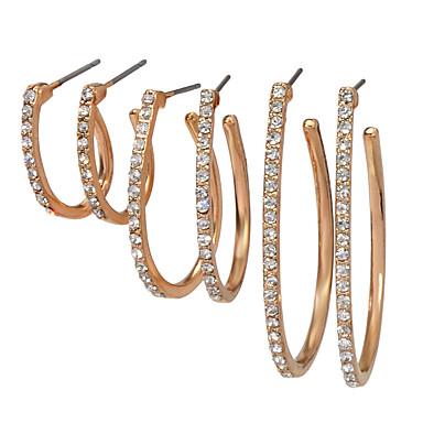 levne Dámské šperky-Dámské Náušnice Sada náušnic Hruška Vertikálně Taurus umělecké Asijský styl Základní Sladký Elegantní Umělé diamanty Náušnice Šperky Zlatá Pro Promoce Dar Denní Karneval Festival 3 páry