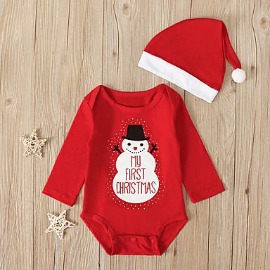 cheap Baby & Toddler Boy-Baby Boys' Active / Basic Santa Claus Solid Colored / Christmas Long Sleeve Cotton Romper Red