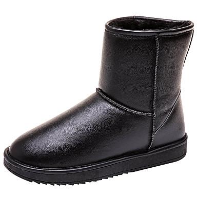 voordelige Dameslaarzen-Unisex Laarzen Platte hak Ronde Teen Nappaleer Kuitlaarzen Winter Zwart / Bruin