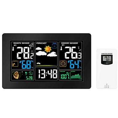 meteorológiai állomás többfunkciós digitális óra hőmérséklet páratartalom despertador holdfázis asztali asztal LCD ébresztőóra