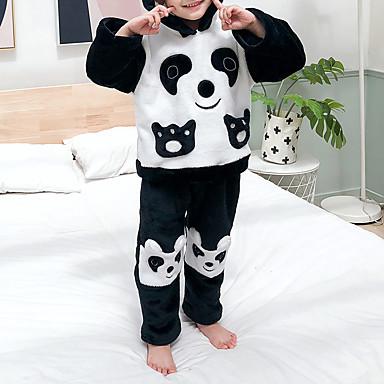 povoljno Odjeća za bebe-2kom Dijete Djevojčice Crno-bijela / Panda Color block Životinjski uzorak / Kolaž / Osnovni Sleepwear Crn