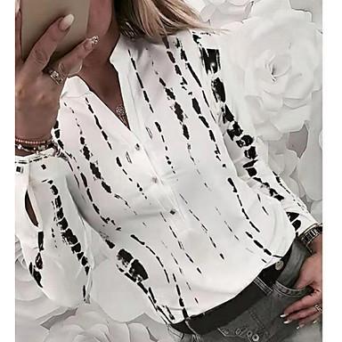 cheap New Arrivals-Women's Daily Shirt - Geometric V Neck White