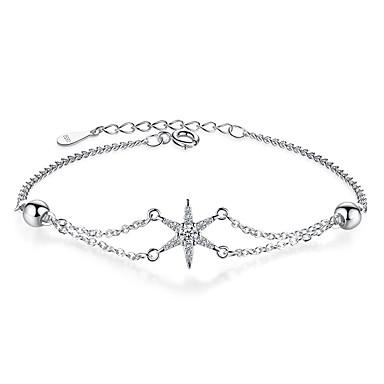 levne Dámské šperky-Dámské Náramek Dvojitý řetízek Yıldız Sladký Módní Slitina Náramek šperky Stříbrná Pro Dar Denní Práce