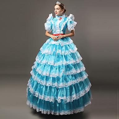 Παραμυθιού Victorian Αναγέννησης 18ος αιώνας Φορέματα Σύνολα Κοστούμι πάρτι Χορός μεταμφιεσμένων Γυναικεία Δαντέλα Στολές Λευκό / Μπλε Πεπαλαιωμένο Cosplay Πάρτι Χοροεσπερίδα 3/4 Μήκος Μανικιού