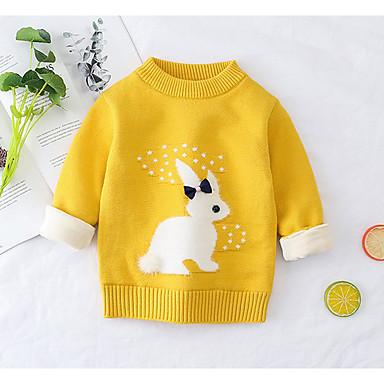 cheap Girls' Sweaters & Cardigans-Toddler Girls' Basic Print Long Sleeve Sweater & Cardigan Blushing Pink