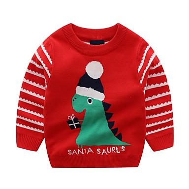 povoljno Odjeća za dječake-Djeca Dječaci Osnovni Print Božić Dugih rukava Džemper i kardigan Red